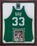 Basketball Collectibles:Uniforms, 1991-92 Larry Bird Game Worn, Signed Boston Celtics Framed Jersey....