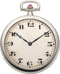 Timepieces:Pocket (post 1900), Swiss Gent's Platinum & Ruby Pocket Watch, circa 1915. ...