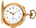 Timepieces:Pocket (pre 1900) , Invicta Gold Minute Repeater With Chronograph, circa 1896. ...