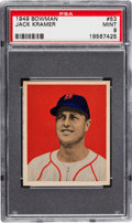 Baseball Cards:Singles (1940-1949), 1949 Bowman Jack Kramer #53 PSA Mint 9 - Pop Three, One Higher. ...