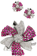 Estate Jewelry:Suites, Retro Diamond, Ruby, Platinum, Gold Jewelry Suite, Merrin. ...