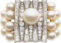 Estate Jewelry:Rings, Retro Cultured Pearl, Diamond, Platinum Ring. ...