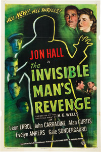 "The Invisible Man's Revenge (Universal, 1944). One Sheet (27"" X 41"")"