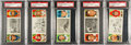 Baseball Cards:Lots, 1912 T202 Hassan Triple Folders PSA-Graded Collection (5) With TyCobb. ...