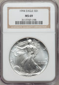 Modern Bullion Coins: , 1994 $1 Silver Eagle MS69 NGC. NGC Census: (7/4). PCGS Population(3734/0). Mintage: 4,227,319. Numismedia Wsl. Price for p...