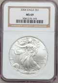 Modern Bullion Coins: , 2004 $1 Silver Eagle MS69 NGC. NGC Census: (0/0). PCGS Population(9549/100). Numismedia Wsl. Price for problem free NGC/P...