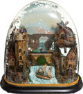 Antiques:Toys, Automaton: Domed Scene Mecanique of Viaduct and River, withwindmill and grist mill. ....