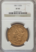 Liberty Double Eagles: , 1861-S $20 XF45 NGC. NGC Census: (143/481). PCGS Population(116/211). Mintage: 768,000. Numismedia Wsl. Price for problem ...