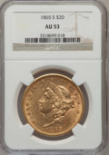 Liberty Double Eagles: , 1865-S $20 AU53 NGC. NGC Census: (99/682). PCGS Population(22/518). Mintage: 1,042,500. Numismedia Wsl. Price for problem ...