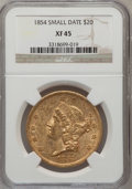 Liberty Double Eagles: , 1854 $20 Small Date XF45 NGC. NGC Census: (124/432). PCGSPopulation (143/201). Mintage: 757,899. Numismedia Wsl. Pricefor...