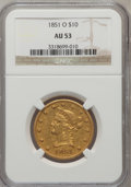 Liberty Eagles: , 1851-O $10 AU53 NGC. NGC Census: (141/314). PCGS Population(38/61). Mintage: 263,000. Numismedia Wsl. Price for problem fr...