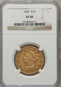 Liberty Eagles: , 1849 $10 XF40 NGC. NGC Census: (65/641). PCGS Population (60/245).Mintage: 653,618. Numismedia Wsl. Price for problem free...