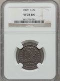 1809 1/2 C VF25 Brown NGC. NGC Census: (10/405). PCGS Population (7/209). Mintage: 1,154,572. Numismedia Wsl. Price for...