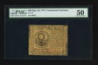 Continental Currency May 10, 1775 $30 PMG About Uncirculated 50