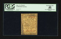 Continental Currency February 17, 1776 $1/3 PCGS Apparent Extremely Fine 40