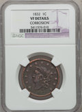 Large Cents: , 1832 1C Large Letters--Corroded-- NGC Details. VF. NGC Census:(0/94). PCGS Population (1/96). Mintage: 2,362,000. Numismed...