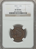 1833 1/2 C XF40 Brown NGC. C-1. NGC Census: (10/371). PCGS Population (27/419). Mintage: 120,000. Numismedia Wsl. Price...