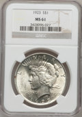 Peace Dollars: , 1923 $1 MS61 NGC. NGC Census: (332/233587). PCGS Population(520/160052). Mintage: 30,800,000. Numismedia Wsl. Price for pr...