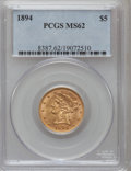 Liberty Half Eagles: , 1894 $5 MS62 PCGS. PCGS Population (410/265). NGC Census:(1112/717). Mintage: 957,800. Numismedia Wsl. Price for problemf...