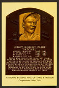 Autographs:Bats, Satchel Paige Signed Baseball Hall Of Fame Plaque....