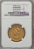 Liberty Eagles: , 1854-S $10 -- Scratched -- NGC Details. XF. NGC Census: (39/356).PCGS Population (41/197). Mintage: 123,826. Numismedia Ws...