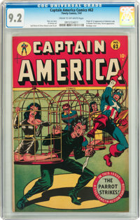 Captain America Comics #63 (Timely, 1947) CGC NM- 9.2 Cream to off-white pages