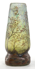 Art Glass:Legras, LEGRAS GLASS LANDSCAPE VASE . Blue and green glass with ochreoverlay, etched and enameled in landscape motif, circa 1900. M...