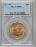 Indian Eagles: , 1914-D $10 MS62+ PCGS. PCGS Population (616/545). NGC Census:(648/414). Mintage: 343,500. Numismedia Wsl. Price for proble...