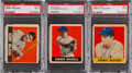 Baseball Cards:Singles (1940-1949), 1948 Leaf Baseball Short Prints PSA-Graded Trio (3). ...