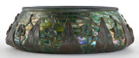 TIFFANY STUDIOS GLASS MOSAIC AND BRONZE JARDINIERE Water lily pattern bronze and green glass mosaic bowl, circa 1