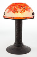Art Glass:Schneider, A SCHNEIDER METAL LAMP WITH GLASS SHADE . Charles SchneiderGlassworks, Épinay-sur-Seine, France, circa 1930. Marks:FRANC... (Total: 2 Items)
