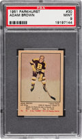 Hockey Cards:Singles (Pre-1960), 1951 Parkhurst Adam Brown #30 PSA Mint 9 - Pop Three with OneHigher....
