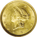 Gold Dollars: , 1851 G$1 MS67 NGC. This fully struck and highly lustrous Superb Gemhas frosty yellow-gold color with tending toward light ...