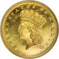 Gold Dollars: , 1866 G$1 MS68 Prooflike NGC. Relatively few 1866 gold dollars arethough to have survived out of an original mintage of 7,1...