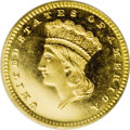 "Proof Gold Dollars: , 1866 G$1 PR66 Cameo PCGS. The Breen proof Encyclopedia says of this issue, ""Date from the half dime logotype, heavy, ne..."