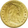 Early Quarter Eagles: , 1802/1 $2 1/2 MS63 NGC. Breen-6118, BD-1, R.4. The top of the 1 inthe date is about level with the lowest hair curl, and t...