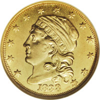 1833 $2 1/2 MS64 NGC. Breen-6136, Bass-3030, BD-1, R.5. A new design modification made its first appearance on the quart...
