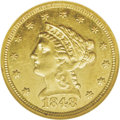 Liberty Quarter Eagles: , 1848 $2 1/2 CAL. AU58 NGC. The 1848 CAL. quarter eagle is alwayspopular as a reminder of the historic, rough-and-tumble Ca...