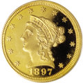 Proof Liberty Quarter Eagles: , 1897 $2 1/2 PR66 Deep Cameo PCGS. Only 136 proof quarter eagleswere struck in 1897, and it is estimated that today approxi...