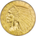 Indian Quarter Eagles: , 1911-D $2 1/2 MS63 PCGS. A pronounced wire rim on the upper right obverse helps to confirm that this Select Mint State spec...