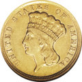 Three Dollar Gold Pieces: , 1854-D $3 AU50 NGC. Variety 1-A. Perhaps no other D-mint issuecaptures the imagination of Southern gold enthusiasts like t...