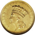 Three Dollar Gold Pieces: , 1854-O $3 AU55 NGC. The three dollar gold denomination began with acertain amount of fanfare, being struck at three differ...