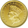 Three Dollar Gold Pieces: , 1873 $3 Closed 3 MS61 PCGS. Among three dollar gold issues, aseries replete with rarities and enigmatic issues, the 1873 C...