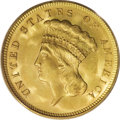Three Dollar Gold Pieces: , 1878 $3 MS65 PCGS. In anticipation of gold being exchangeable atpar with paper money on January 1, 1879, as mandated by th...