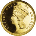 Three Dollar Gold Pieces: , 1882 $3 MS66 ★ Prooflike NGC. Ex: Freedom Collection. An obviouslyrepunched 2 in the date co...