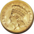 Three Dollar Gold Pieces: , 1888 $3 MS65 NGC. The few active collectors of gold coins in thelate 1880s must have had quite a heyday, as the writing ha...
