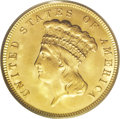 Three Dollar Gold Pieces: , 1888 $3 MS65 PCGS. This is a coin of superlative quality, whichquickly becomes apparent when it is examined closely. Few g...