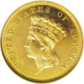 Proof Three Dollar Gold Pieces: , 1881 $3 PR66 Cameo NGC. The 1881 three dollar gold issue boasts a limited mintage of 500 business strikes and 54 proofs. Th...