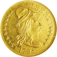 1795 $5 Small Eagle MS64 NGC. Breen 1-C, Breen-6412, Bass-3034, BD-2, R.6. The 1795 half eagles were the first gold coin...