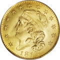 Early Half Eagles: , 1813 $5 MS66 PCGS. BD-2, R.4. In 1813 the half eagle was the only U.S. gold denomination being produced. Gold eagles had no...